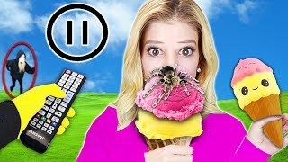 PAUSE CHALLENGE w/ Rebecca Zamolo for 24 hours! Squishy Food vs. Real Food (Game Master spy Wins)