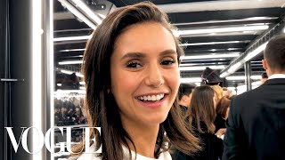 Nina Dobrev Gets Ready for the Louis Vuitton Fashion Show   Vogue