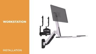 DWS02-W01 Single Display Sit-Stand Workstation Wall Mount Installation Video