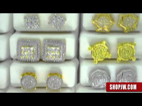 .925 Silver Simulated Diamond Micro Pave Mens Hip Hop Earrings – Shopjw
