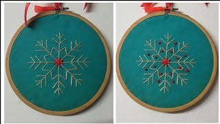 Embroidery Hoop Decoration | Snowflake Embroidery | Christmas Decoration Ideas | Beads And Knots