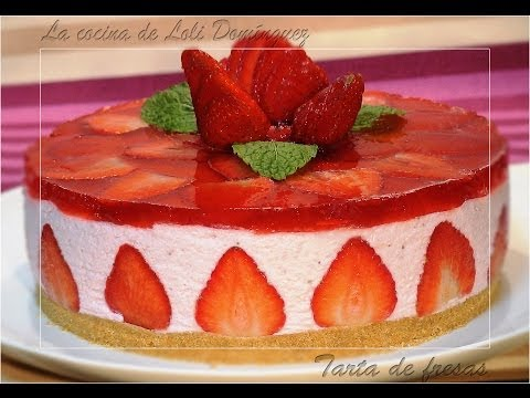 Tarta de fresas SIN HORNO, Recetas de cocina, paso a paso, Loli Domínguez