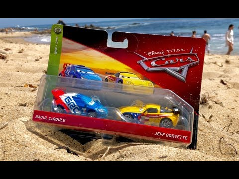 2018 Disney Pixar Cars 3 Toys Review - Raul Caroule Jeff Gorvette 2 Pack - Toy Unboxing At The Beach