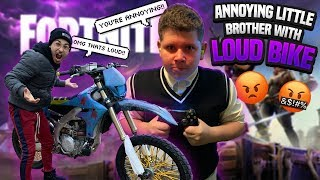 BOTHERING LITTLE BROTHER WITH DIRT BIKE WHILE HES PLAYING FORNITE ! | BRAAP VLOGS