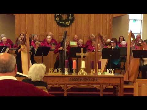 Cara Harp Ensemble playing for a Christmas worship service