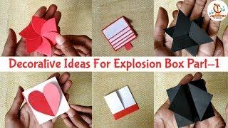 Decorative Ideas For Explosion Box Part-1 | 6 Card Ideas For Explosion Box | DIY Explosion Box Ideas
