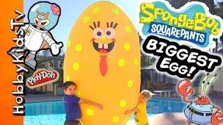 Worlds BIGGEST SPONGEBOB Surprise Egg! Toys + Play-Doh Mega Blocks Invisible Car HobbyKidsTV