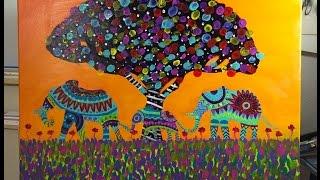 Beautiful Painting Of Three Elephants! - Mexican Folk Art