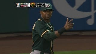 Cespedes throws out Kendrick at the plate