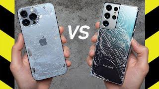 Apple iPhone 13 Pro Max vs Samsung Galaxy S21 Ultra Drop Test!