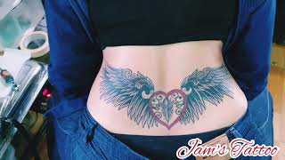 Wings Lower Back Tattoo For Woman