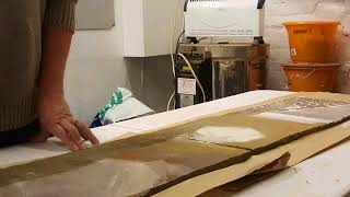 Working the surface of larger piece