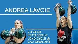 Andrea Lavoie | 54 reps in long cycle with 2 x 24 kg kettlebells (California Open, 2018)