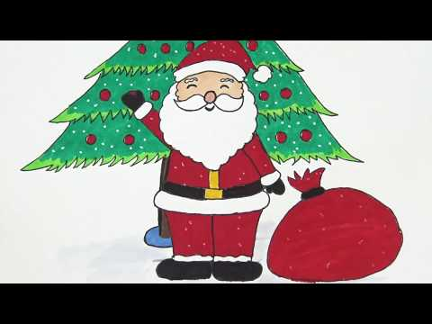 วาดรูประบายสี ซานตาครอสกับต้นคริสต์มาส | Drawing Santa and Christmas tree