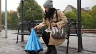 Зонт-наоборот антизонт Umbrella (салатовый) - видео 1