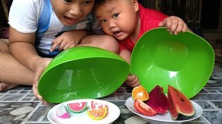 Đồ Chơi Trẻ Em Bé Pin Đồ Ăn Bí Mật❤ PinPin TV ❤ Trò Chơi Đồ Ăn thật ,Đồ Ăn giã