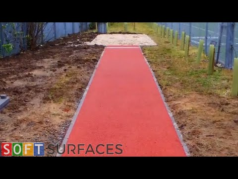 Polymeric Surface Long Jump Pit Installation in Cardiff, Wales   Long Jump Pit Construction