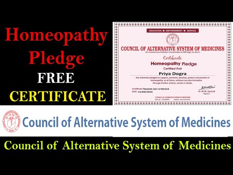 Council of Alternative System of Medicines Pledge Certificate ...