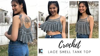 HOW TO CROCHET TANK TOP : Crochet Lace Shell Tank Top ( Free Pattern Sizes XS - XXL )