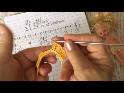 Häkeln.Kleid für mini Puppe.Вязанное платье для мини куклы.
