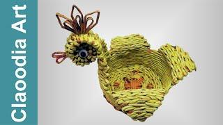 Koszyk kura, papierowa wiklina (hen, basket wicker paper)