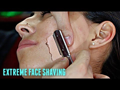 SHAVING A LATINA WOMAN'S FACE V.6! *EXTREMELY HAIRY* Straight Razor Tutorial HD!