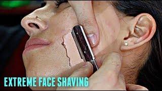 SHAVING A LATINA WOMAN'S FACE V.6! *EXTREMELY HAIRY* Straight Razor Tutorial HD!