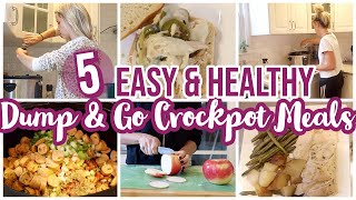 5 DUMP & GO EASY CROCKPOT MEALS // WHATS FOR DINNER // HEALTHY + BUDGET FRIENDLY COOK WITH ME
