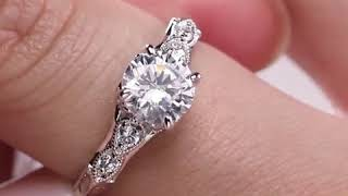 Round Excellent Cut DEF Near Colorless Moissanite 14K Solid White Gold Solitaire Engagement Ring