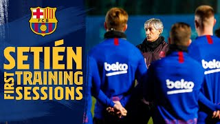 Quique Setién's first training sessions as Barça coach