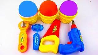 Learn Colors Kinetic Sand Ice Cream Repair Tools Baikinman Fox Pikachu Pokémon Surprise Eggs