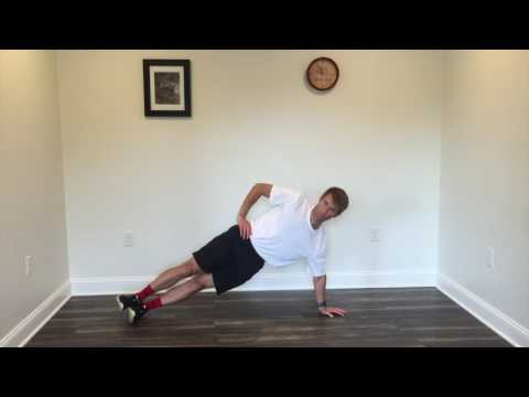 Side plank with arm extended for moderate lateral core strengthening
