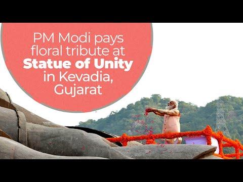 PM Modi pays floral tribute at Statue of Unity in Kevadia, Gujarat | PMO