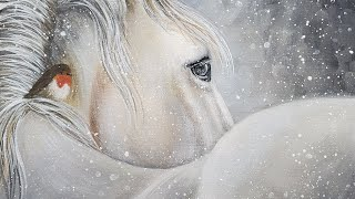 White Winter Horse With Bird Acrylic Painting LIVE Tutorial