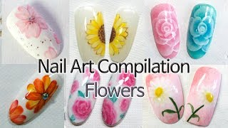 10 Designs Of Flower Nail Art (Nail Art Compilation, Painting Flowers)