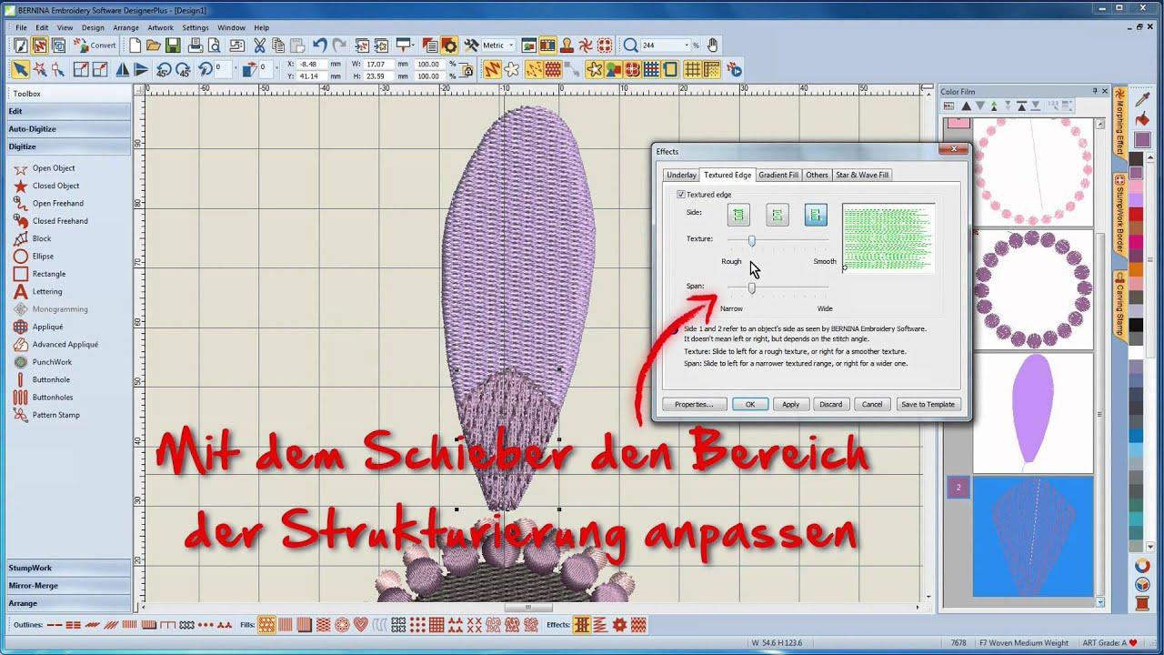 BERNINA Sticksoftware 7 Tutorial 5/12 - Erstellen eines StumpWork-Motives in der Software