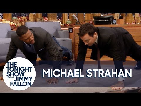 , title : 'Michael Strahan Challenges Jimmy to Do 25 Push-Ups for Military Vets'