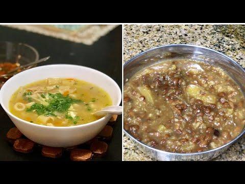 Winter recipes / Chicken Soup in Rice Water / Sweet Pumpkin & Horsegram(Kulthi Dal) dessert
