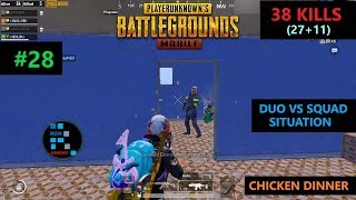"[Hindi] PUBG MOBILE | INSANE ""38 KILLS"" DUO VS SQUAD SITUATION CHICKEN DINNER"