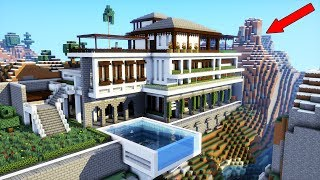 Minecraft How To Build A Modern Mansion Modern Cliff Mountain