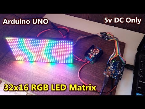 32x16 RGB LED matrix display with Arduino UNO microcontroller | DFrobot