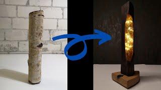 Wood Night Lamp with Glassplit and Epoxy Resin - Holz Nachtlampe mit Glassteine und Epoxidharz