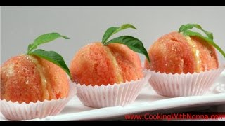 Italian Peach Cookies With Cream And Alkermes  - Rossellas Cooking With Nonna