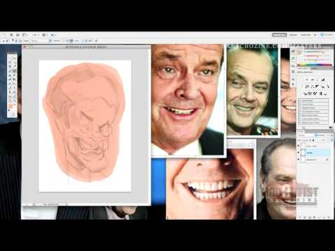 Anthony Geoffroy's Jack Nicholson Caricature Drawing VideoTutorial Teaser