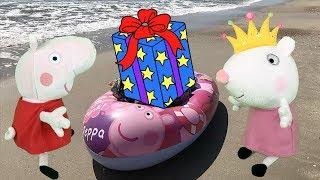 peppa pig hacemos castillos de arena mágica en la playa