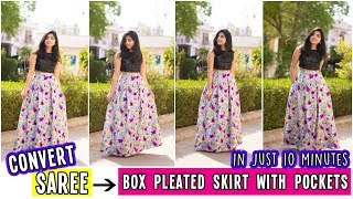 Convert Old Saree Into Box Pleated Skirt With Pockets  In just 10 minutes