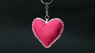 DIY Valentine Gift For Him - Felt Heart Keychain Step By Step