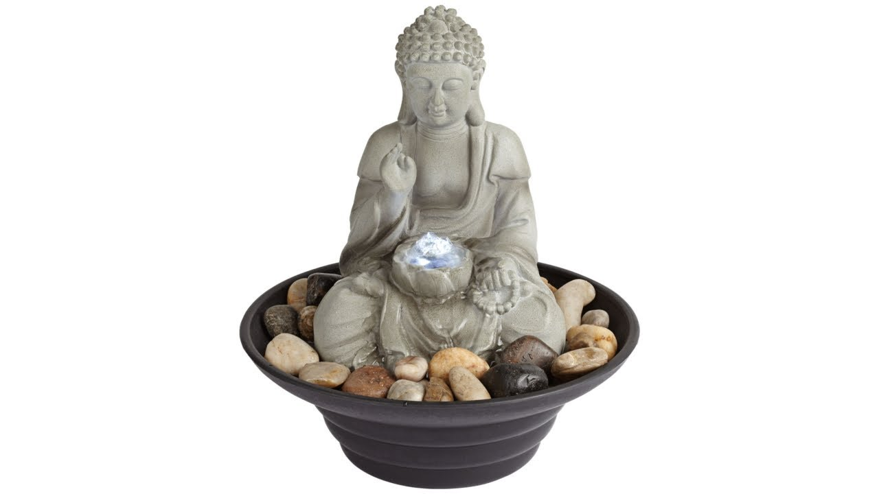 "Sitting Buddha 10"" High LED Tabletop Zen Fountain"