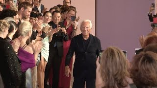 Models And Designer On The Runway For The Giorgio Armani Prive In Paris