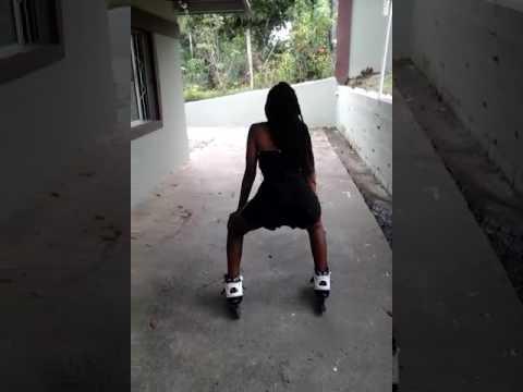 young girl twerking on roller blades